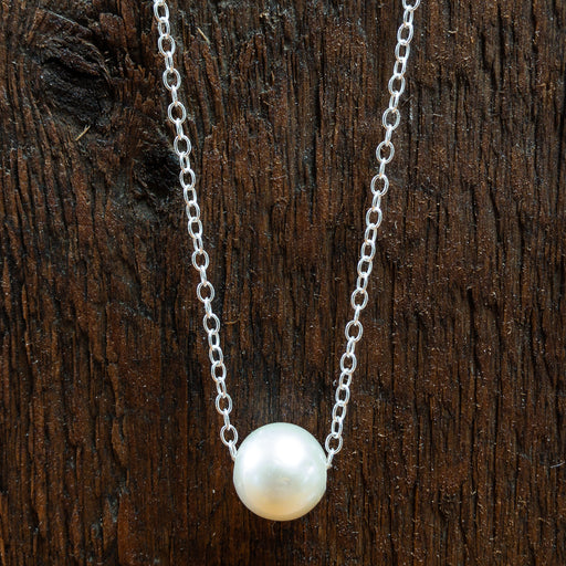 Necklace - Single Freshwater Pearl - 16 Inch Sterling Silver Chain - ENN24