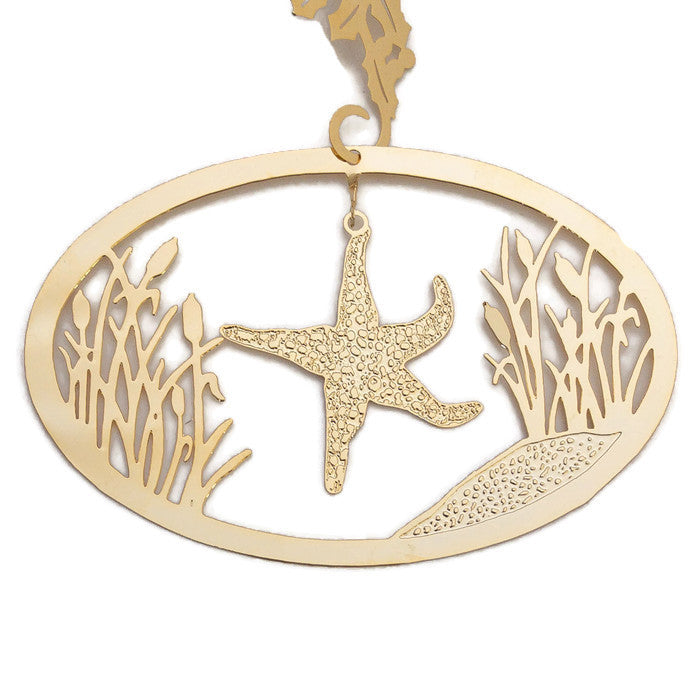 Ornament - Gold Plated Starfish With Cattails