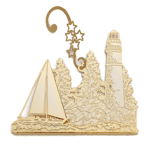 Ornament - Gold Plated Lighthouse With Sailboat