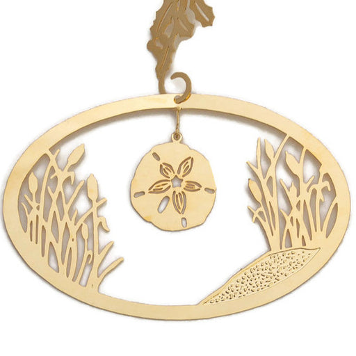 Ornament - Gold Plated Sand Dollar With Cattails