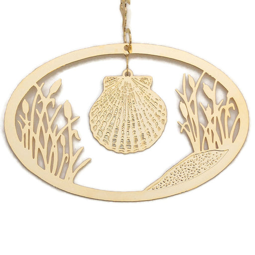 Ornament - Gold Plated Seashell with Cattails