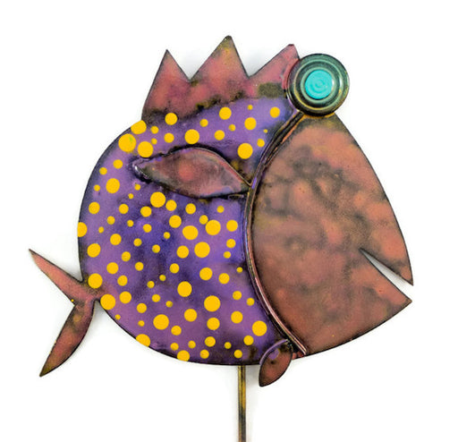 Garden Stake - Fish Stick - 103 - Purple Body/Pink Head - Orange Dots