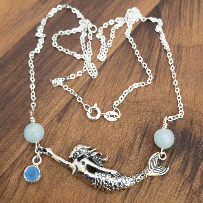 Necklace - Mermaid Festoon - Aquamarine - Sterling Silver