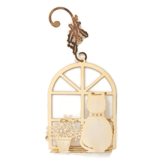 Ornament - Gold Plated Cat in the Window