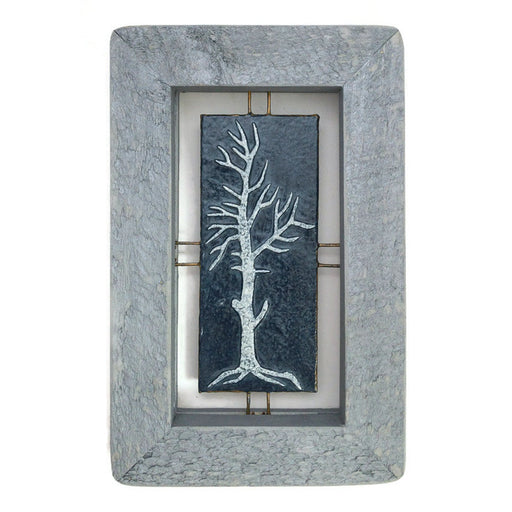 "Tree Tile - Blue on Blue - 6""x9.5"""