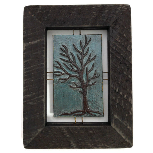 "Tree Tile - Brown on Blue - 6.5""x8.5"""