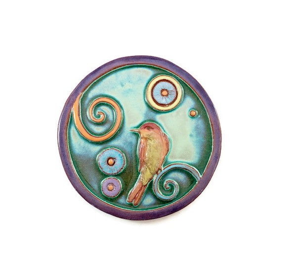 Ceramic Art Tile - Encounter Balance Circle - Songbird - Celedon/Wisteria - 8""