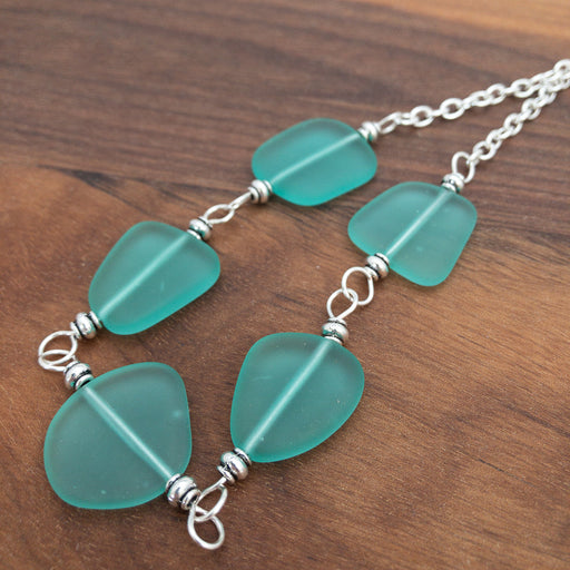 Necklace - Chunky Free From Cluster - Aqua Green