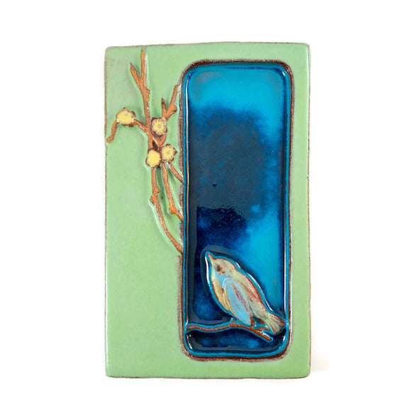 Ceramic Art Tile - Haiku Postcard - Finch Bird - Aqua/Pea Green