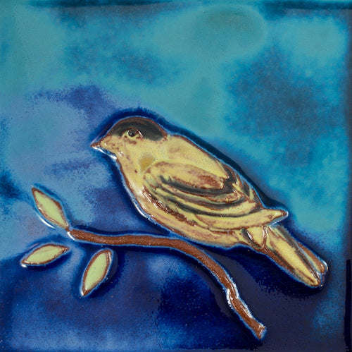 Ceramic Art Tile - Lush Life Square - Goldfinch - Aqua/Dark Evening - Light Stars