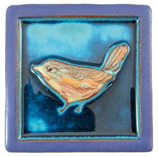 Ceramic Art Tile - Wren - Small - Aqua/Wisteria