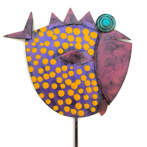 Garden Stake - Fish Stick - 101 - Purple Body/Pink Head - Orange Dots