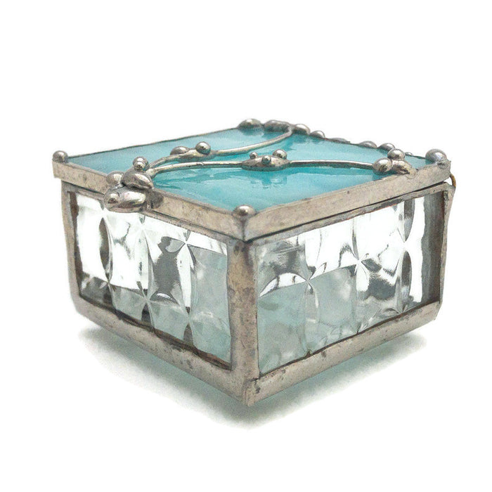 "Glass Treasure Box - 2""x2"" - Opalescent Marbled Aqua - 22-DW"