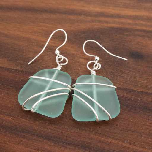 Earrings - Freeform Wraps - Pale Aqua