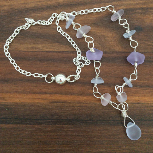 "Necklace - Pebble Cluster with Pendant - 20"" - Purples"