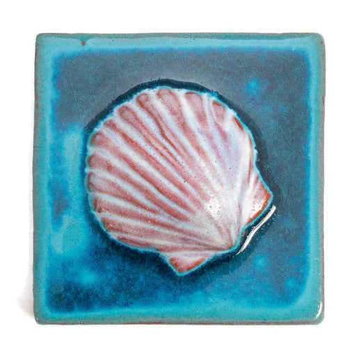 Ceramic Art Tile - Small Shell - Aqua