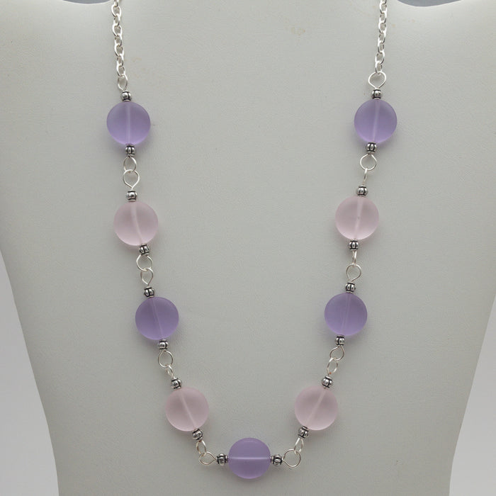 "Necklace - Coin Cluster - 18"" - Purples/Pinks"