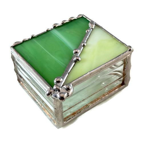 "Glass Treasure Box - 2""x2"" - Spring Green & Marble Lime - 22-500"