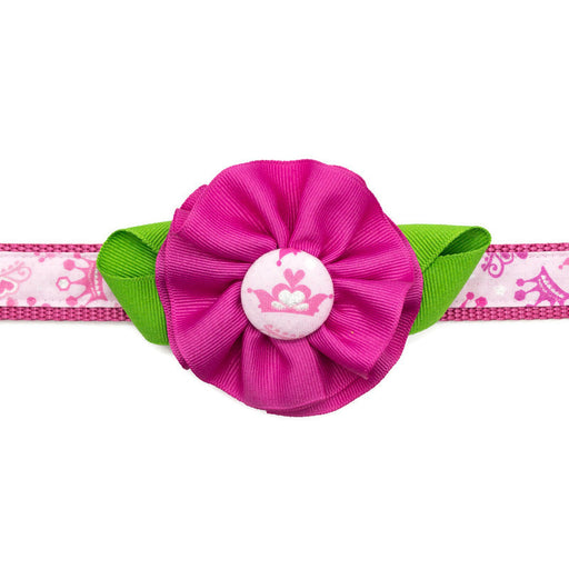 Dog Collar - Pink Crowns/Pink Flower - Large