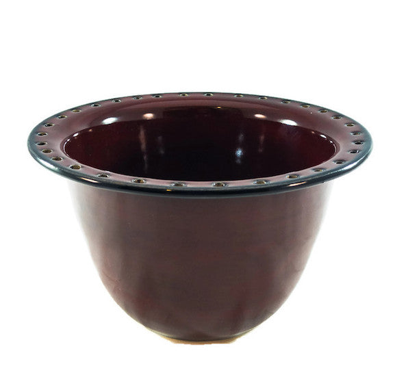 Earring Bowl - Obsidian/Fire Brick with Glass