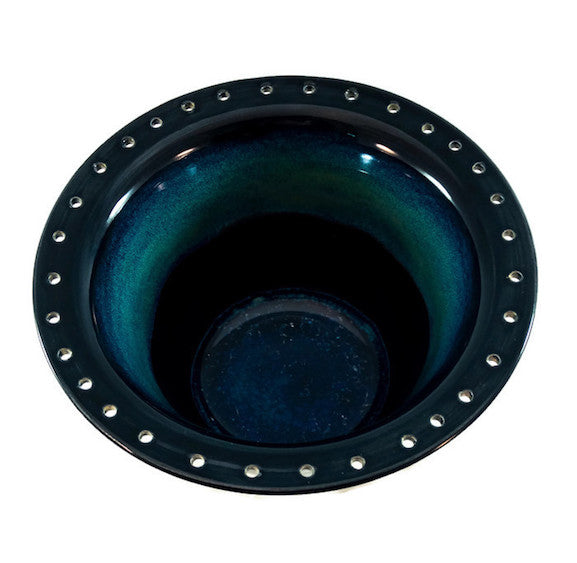 Earring Bowl - Obsidian/Seaweed with Glass