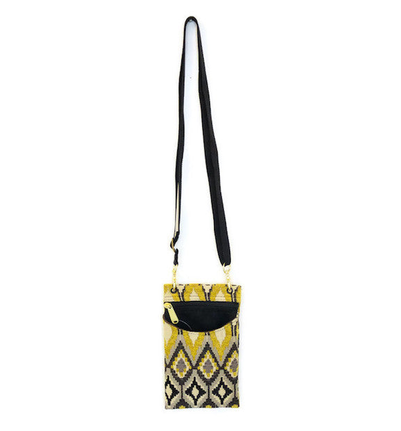 Purse - Cell Phone Case - Adjustable - Black and Yellow - HH