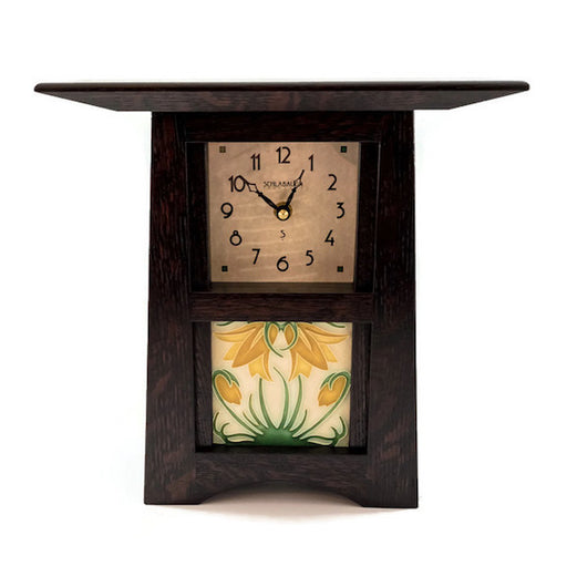 Clock - Craftsman Tile Clock - 10x11x4 - Oak Slate Finish - Ladybell Golden Tile - CTC-44-SLATE