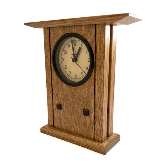 Clock - Prairie Style Mantel - White Oak with Nut Brown Finish - PR-1-NBO