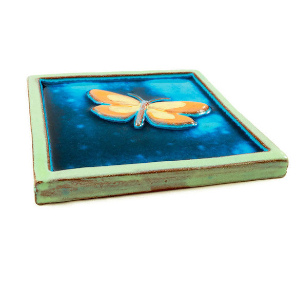 Ceramic Art Tile - Large Butterfly - Aqua/Pea Green