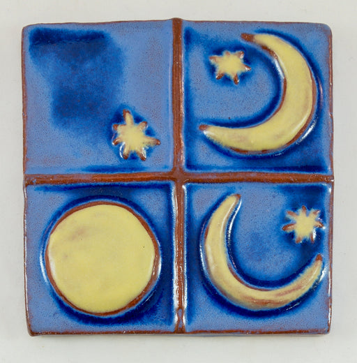 Ceramic Art Tile - Phases of the Moon - Wisteria