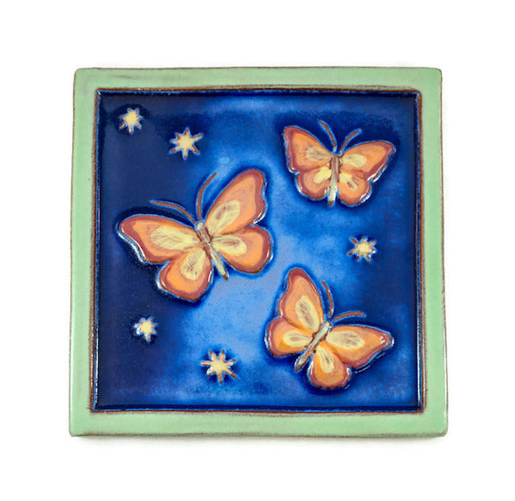 Ceramic Art Tile - Bright Butterflies - Evening Blue/Pea Green