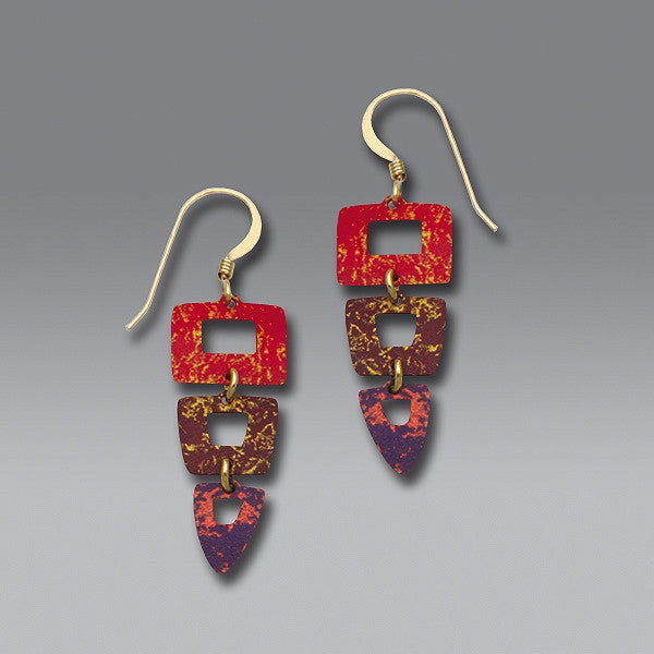 Earrings - 3-Part Squares & Triangle earrings in Rich Reds & Violet - 7212