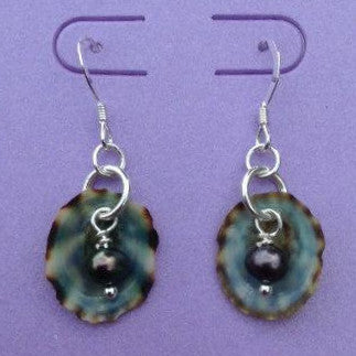 Earrings - Anna - Peacock Pearl - Sterling Silver