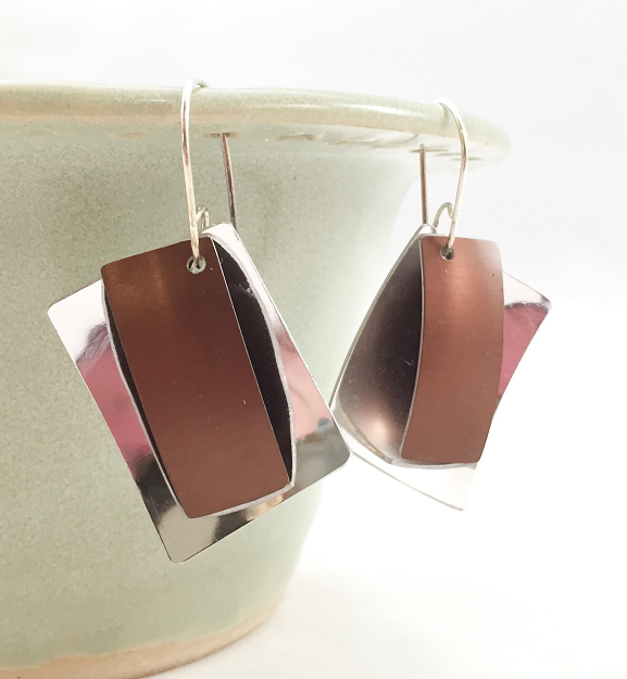 Earrings - Anodized Aluminum and Sterling Silver Earrings - Brown - A-2/ Brown
