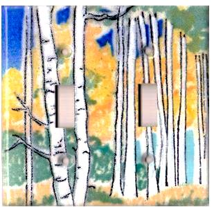 A handmade double toggle fused glass switch plate cover with the image of Aspen trees.
