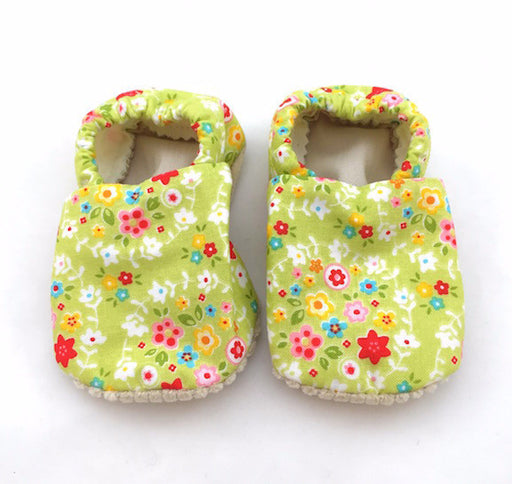 Baby Shoes - 6-12 months - Green Floral