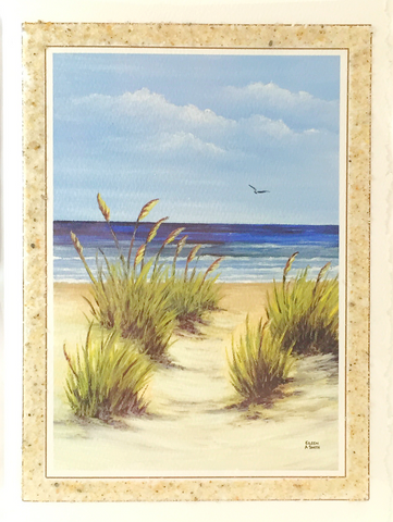 Notecard - Beach Sand - Art - Sea Oats