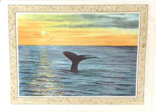 Notecard - Beach Sand - Art - Whale Watch