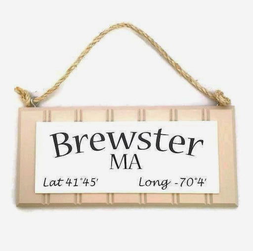 Beadboard Longitude Sign - Brewster - Tan