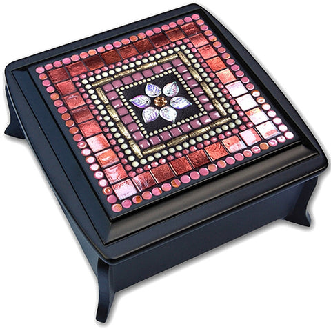 Coral berry mosaic jewelry box
