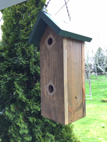 Birdhouse - Two Story - Green Roof/Natural Base