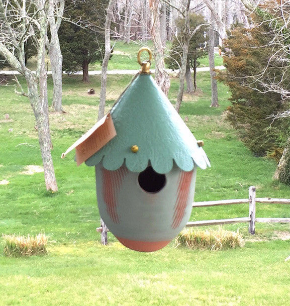 Bird House - Green Base/Patina Roof