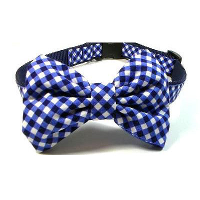 Dog Collar - Blue Plaid Bow Tie - Navy - Small