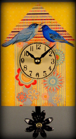 Pendulum Clock - Small - Blue Birds