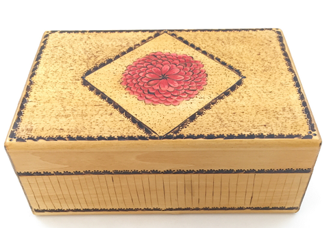 "Box - Rectangle - Large - Red Flower - 8"" x 5"" x 3"""