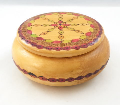 "Box - Round - Magenta/Green/Yellow Pattern - Approx. 6"" diameter"