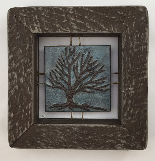 "Tree Tile - Brown on Blue - 7""x7"""