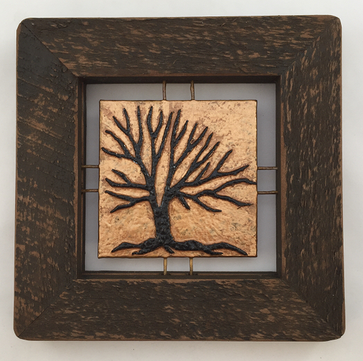 "Tree Tile - Brown on Copper - 7""x7"""