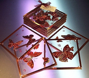 Copper Coaster Set - Butterflies