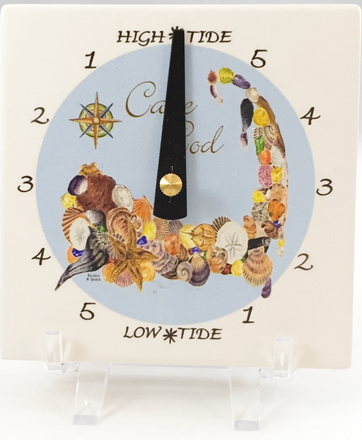 Tide Clock - Desk - Cape Cod Shells - Blue - Black Hand